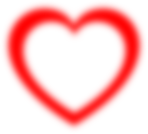 Fuzzy Red Heart Outline Clip Art
