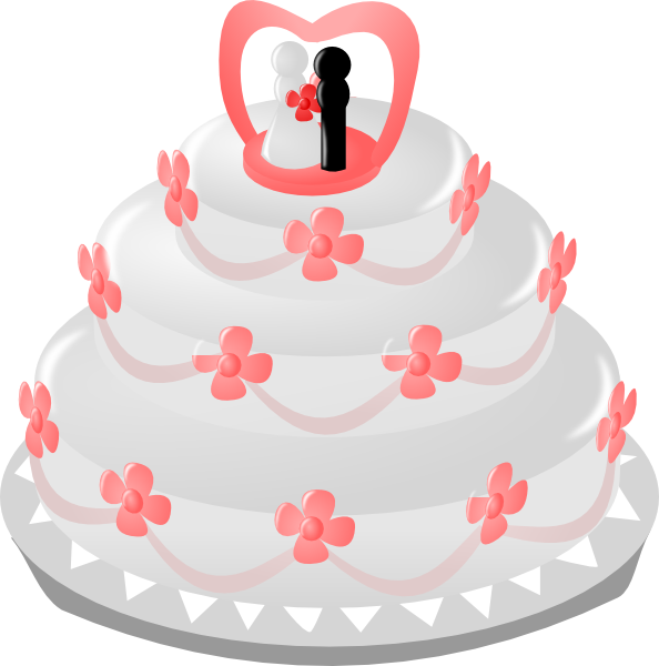 Wedding Cake With Topper Clip Art at Clker.com - vector ...