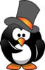 Penguin Wearing Top Hat Clip Art