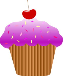 Purple Cherry Cupcake Clip Art