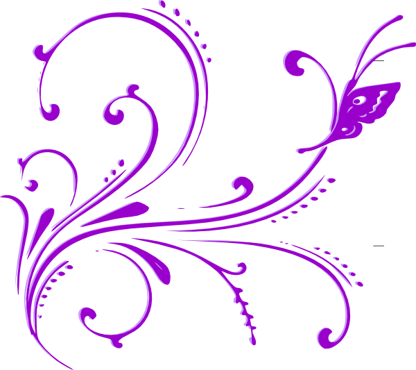 Butterfly Scroll Purple 2 Clip Art At Clkercom Vector Online Royalty Free amp Public