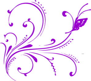 Butterfly Scroll Purple 2 Clip Art