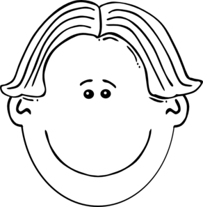 Boy Face Black & White Clip Art