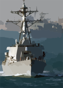 The Guided Missile Destroyer Uss Mcfaul (ddg 74) Leads The Dock Landing Ship Uss Whidbey Island (lsd 41) Through The Daylong Transit Of The Suez Canal. Clip Art