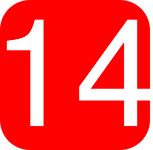 Red, Rounded, Square With Number 14 Clip Art