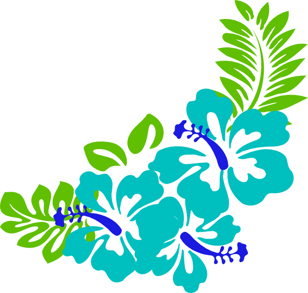 Blue Green Tropical Flowers Clip Art at Clker.com - vector ...