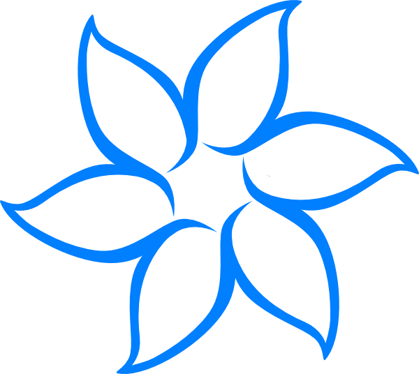 Blue Flower Outline Clip Art At Clkercom Vector