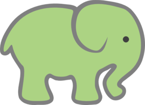 Baby Green Elephant Clip Art