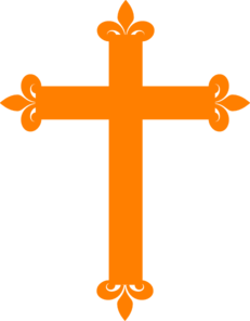 Fleur De Lis Cross - Orange Clip Art
