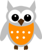 Orange Gray Owl Clip Art