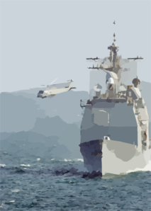 An Sh-60b Departs The Uss Normandy Clip Art