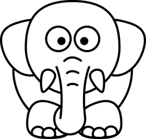 Cartoon Elephant Bw Clip Art