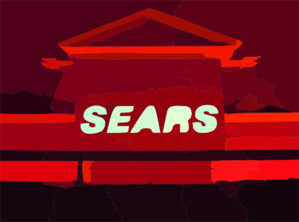 Sears At Night South Face From Roof Of Parkade Richmond Vector Clip Art