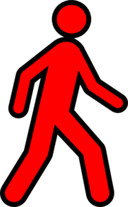 Red Walking Man With Black Outline Clip Art