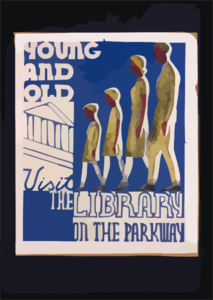 Young And Old Visit The Library On The Parkway Clip Art