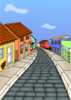 Village With Brick Road Clip Art