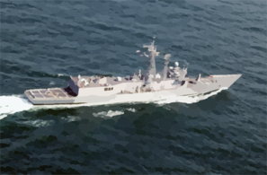 An Aerial View Of The U.s. Navy Guided Missile Frigate Uss Reuben James (ffg 57) Clip Art