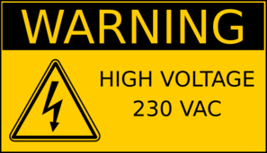 Warning High Voltage 230 Vac Clip Art