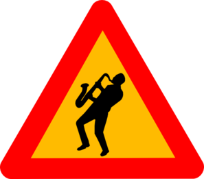 Jazz Musician Road Sign Triangle Clip Art