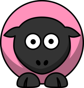 Sheep - Pink Ff92bb On Black  Clip Art