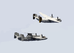 An E-2c Hawkeye And A C-2a Greyhound Make A Fly-by Over The Uss Constellation (cv 64) During Practice For Constellation Clip Art
