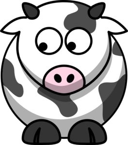 Cow Looking Down Right Clip Art