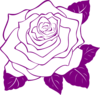 White Rose With Purple Outline Clip Art