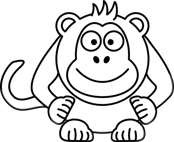 Black And White Cartoon Monkey clip artCartoon Elephant Black And White