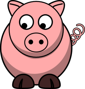 Pig Looking Left-down Clip Art
