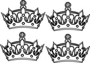 Four Coloring Book Crowns Clip Art