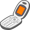 Cell Phone Grey Orange Clip Art