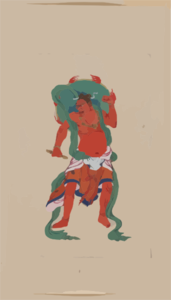 Mythological Buddhist Or Hindu Figure, Full-length, Standing, Facing Front, With Long Green Sash And Flaming Green Halo Behind His Head Clip Art