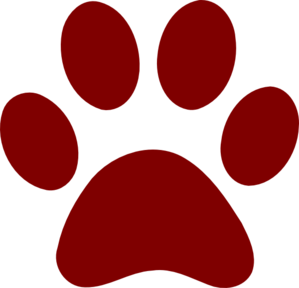 Dark Red Paw Print Clip Art