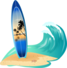 Surfboard And Wave Clip Art