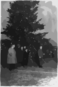 President Coolidge Illuminating The Community Christmas Tree, Which Has Been Erected On The Monument Grounds, South Of The White House Clip Art