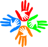 Four Colored Hands 1 Clip Art