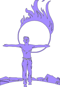 Circus Jumping Through Fire Clip Art