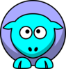 Sheep 2 Toned Blues Looking Up Crossed-eyed Clip Art