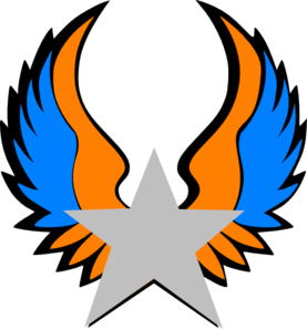 Orange And Blue Star Wings Clip Art
