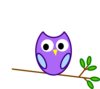 Purple Modified Owl Clip Art