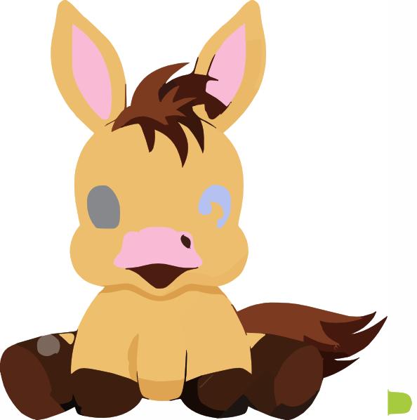 Baby Horse Cartoon Illustration Pony Very Cute Clip Art at ...