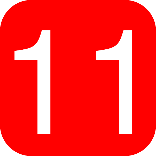 Red, Rounded, Square With Number 11 Clip Art at Clker.com ...