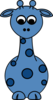 Giraffe-front Blue No Smile Clip Art