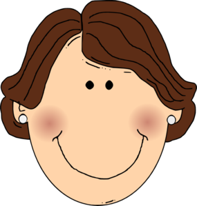 Smiling Brown Hair Lady With Earrings Clip Art