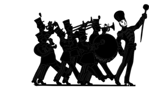 Marching Band Black On White Clip Art