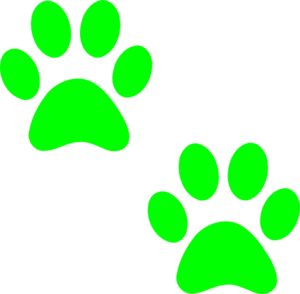 Two Green Paws Clip Art