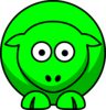 Sheep Looking Straight Neon Green Clip Art