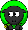 Green Sheep Looking Right Clip Art