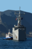 Uss Doyle (ffg 39) Is Assisted By Greek Tugs As She Arrives For A Brief Port Visit At Souda Bay. Clip Art