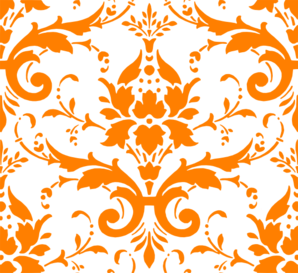 Orange Damask Template Clip Art